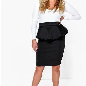 BOO HOO Midi pencil skirt with waist ruffle.
